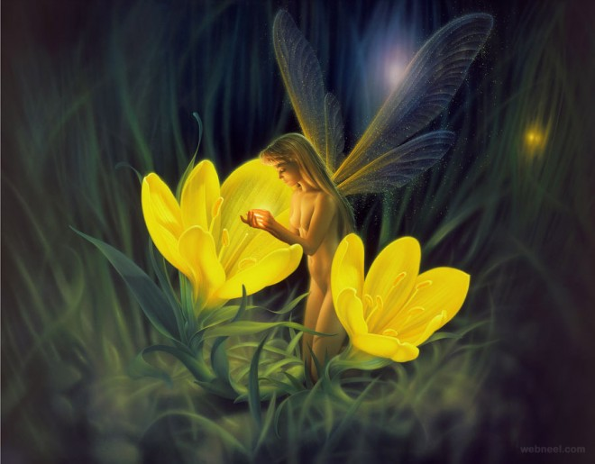 night flowers fantasy artwork