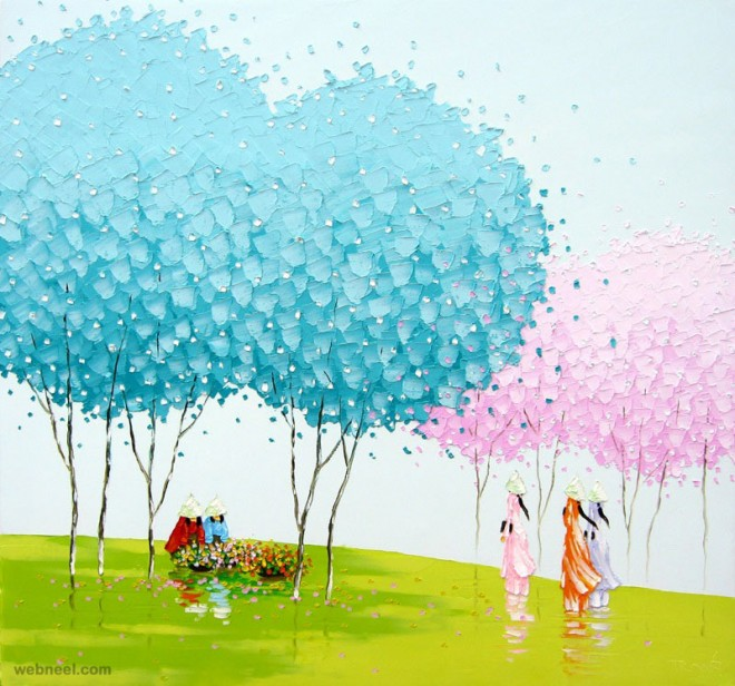 winter painting by phan thu trang