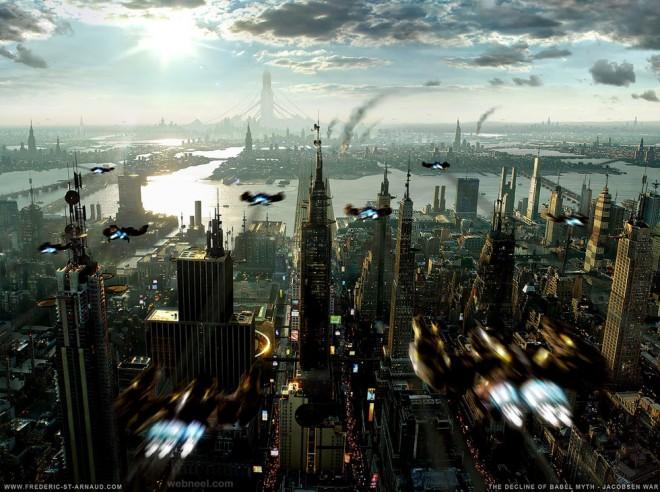 city digital matte painting