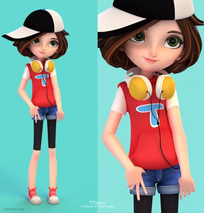 girl 3d cartoon character
