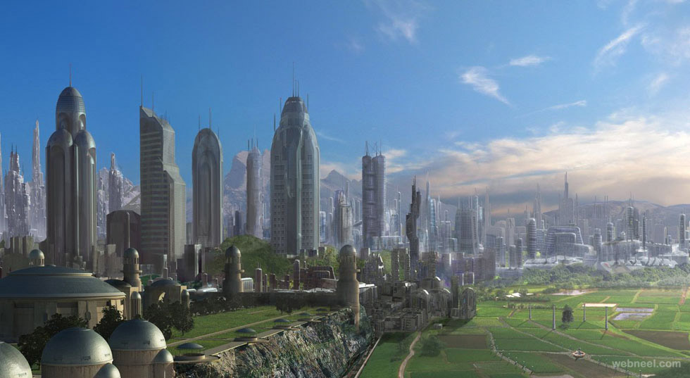 city coreing digital matte painting