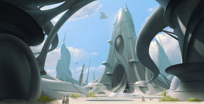 futuristic digital matte painting