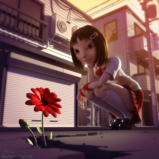 girl 3d cartoon character andrew