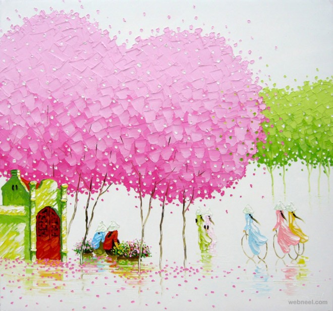 seasons palette knife painting phan thu trang