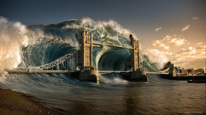 wave digital matte painting