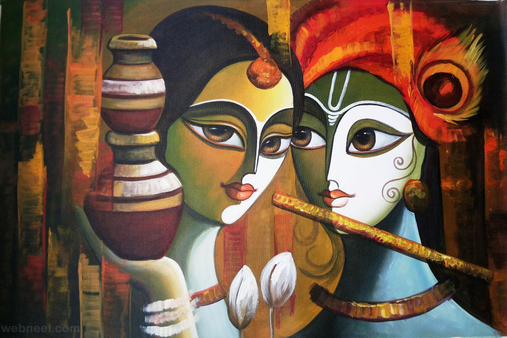 radha krishna indian paintings