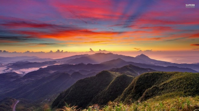 colorful mountain sunrise photo