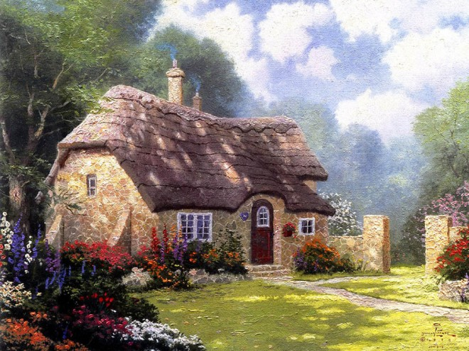 house oil painting by thomas kinkade