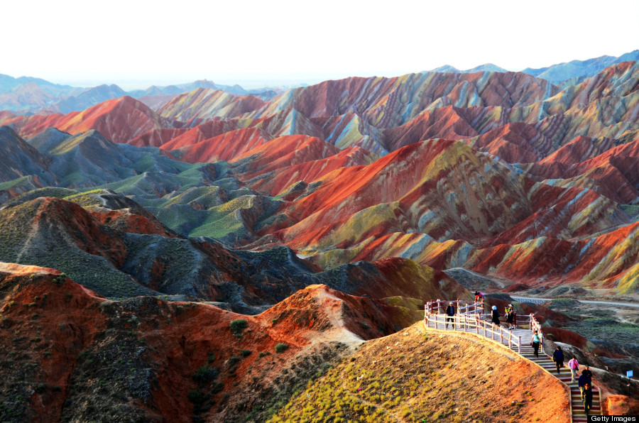 rainbow mountains china photo