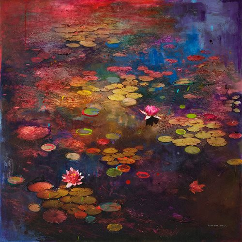 colorful pond painting by stev'nn hall