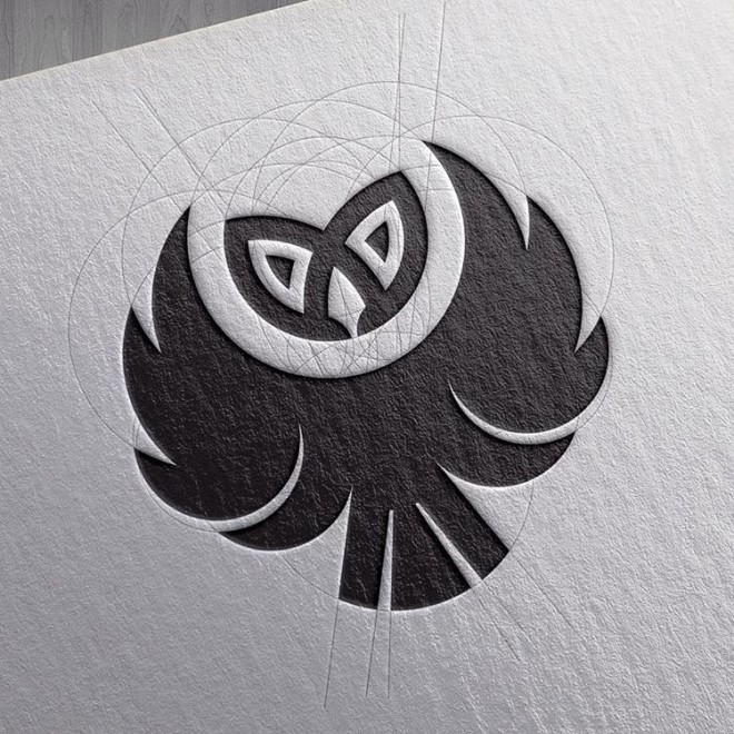 owl head branding logo design by goran jugovic
