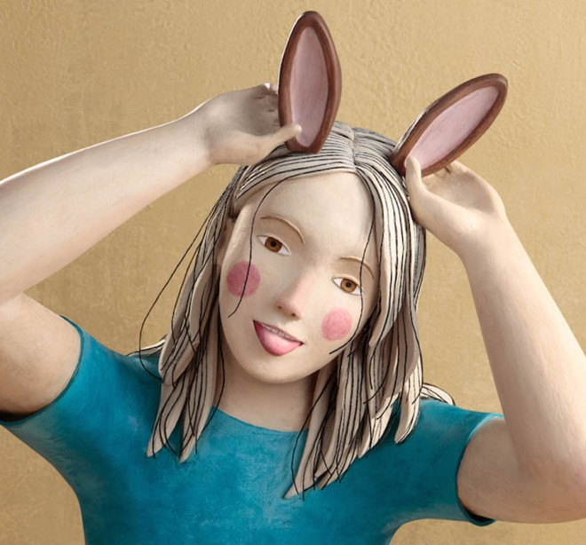 rabbit realistic clay sculptures by irma gruenholz