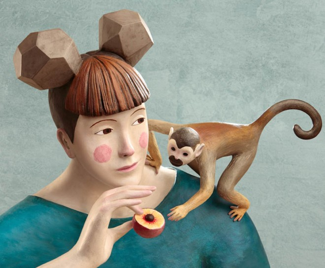 monkey realistic clay sculptures by irma gruenholz