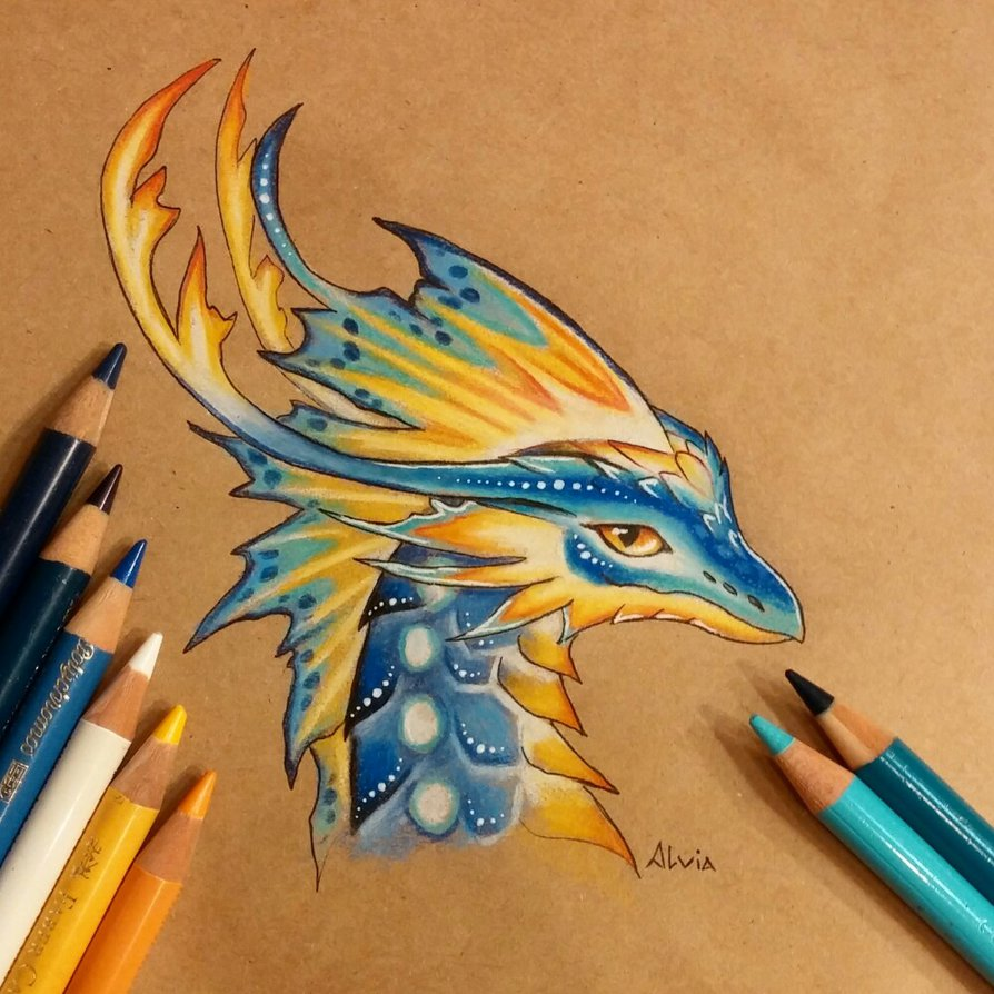 tropical dragon color pencil drawing