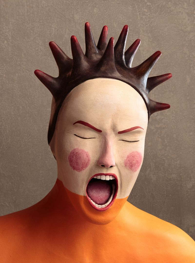 scream realistic clay sculptures