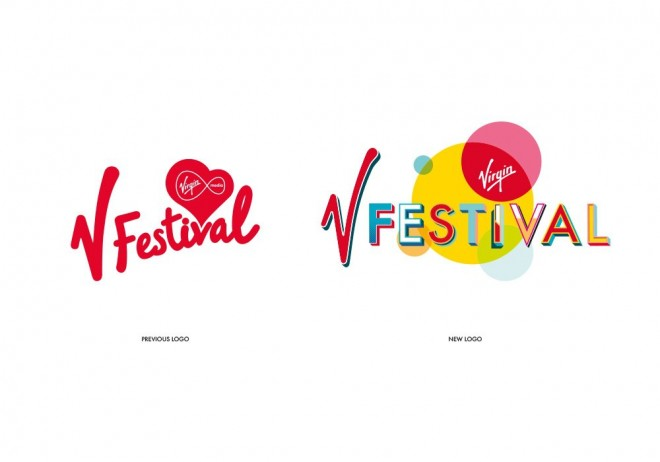v festival logo typography design by paula benson