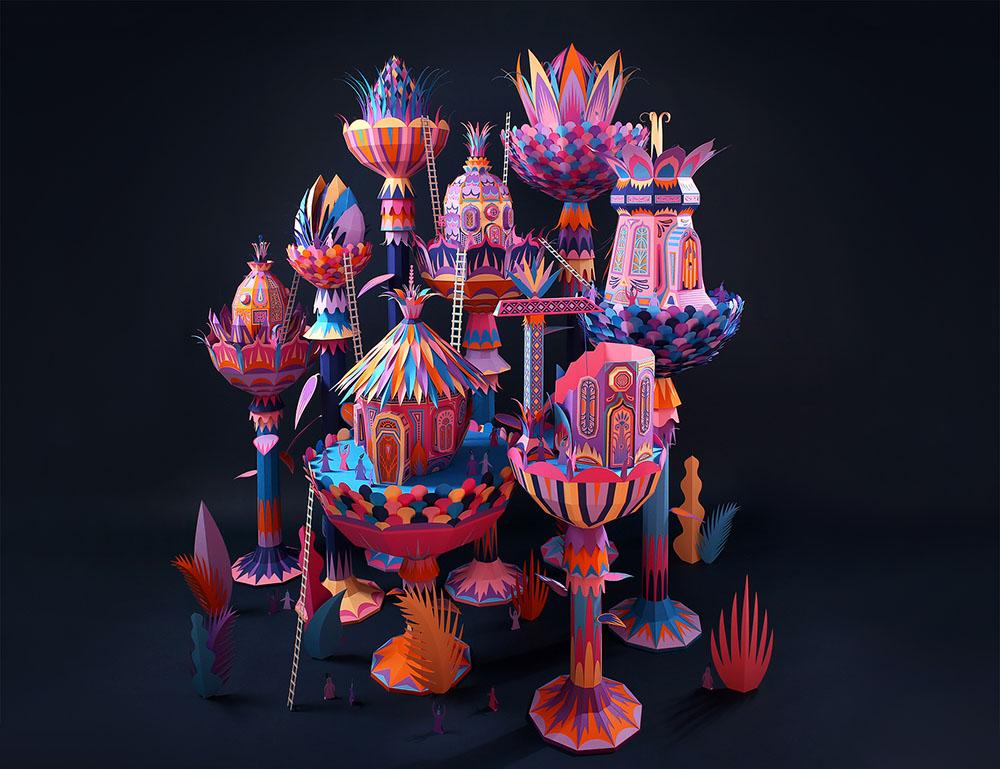 vibrant paper sculpture idea