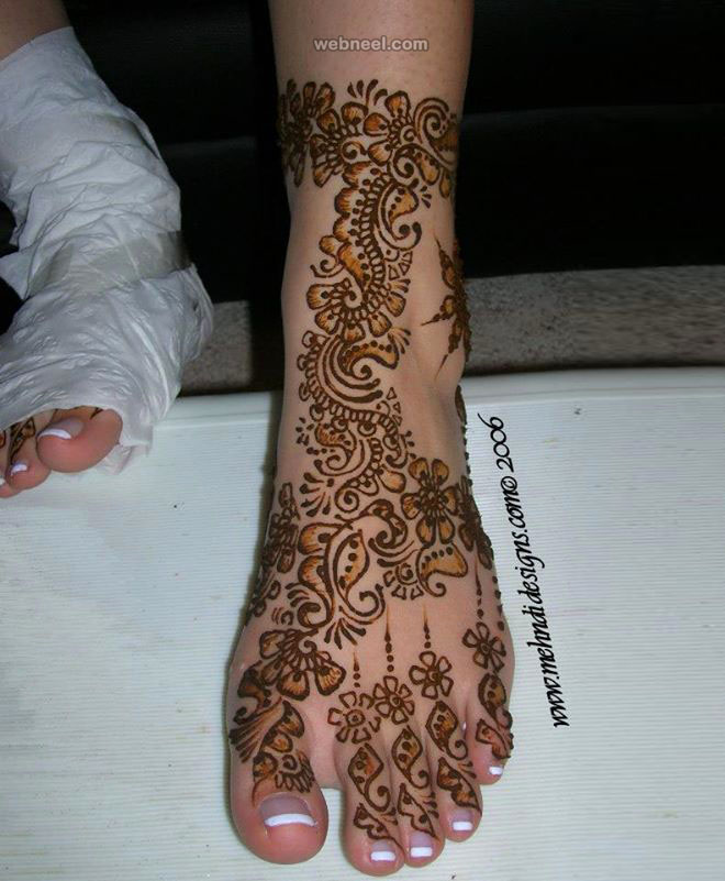 bridal leg mehndi design