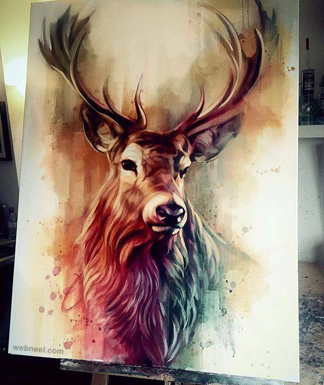 deer animal painting by ben jeffery