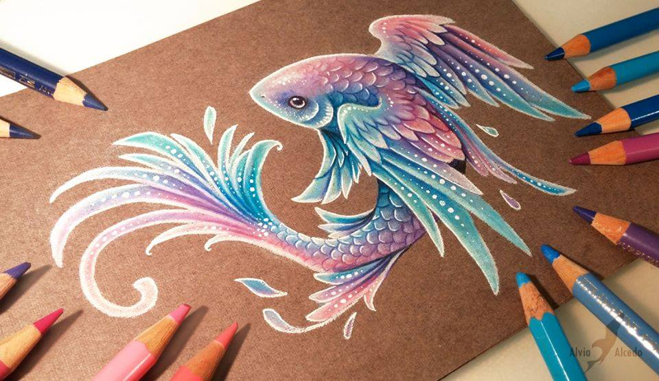 fish color pencil drawing