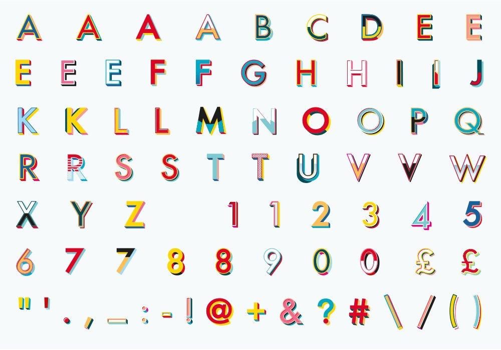 alphabets v festival typography design