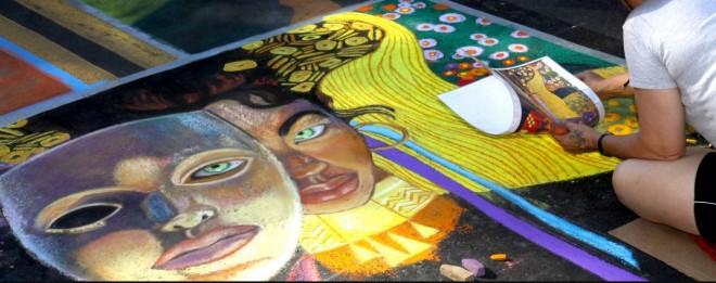 faces chalk art