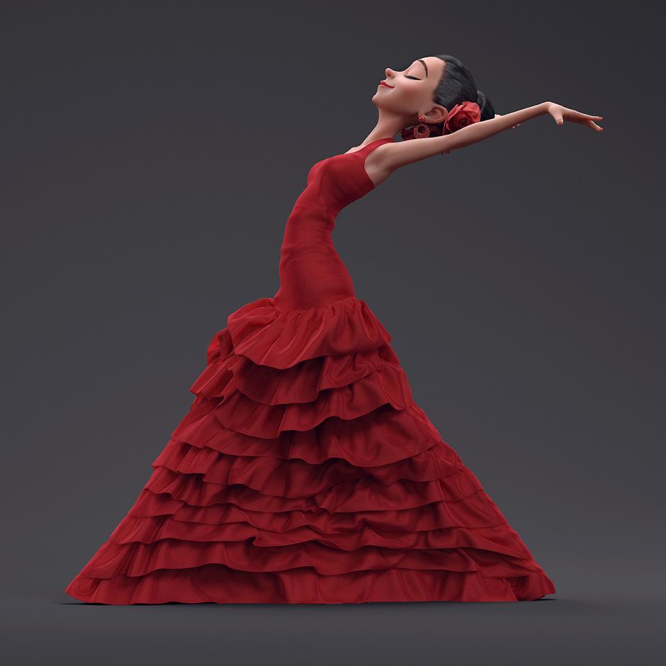 flamenco dancer 3d design