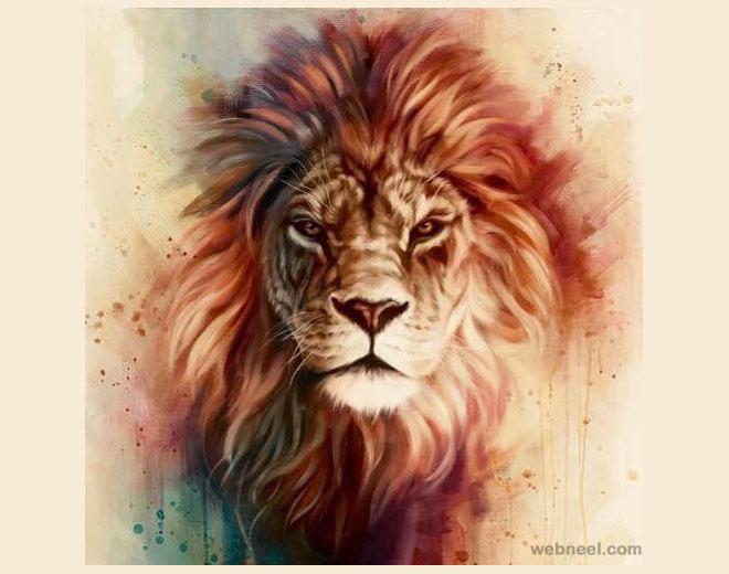 lion animal painting