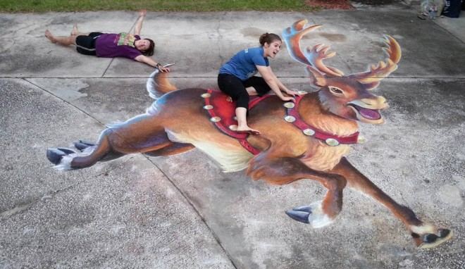 3d reindeer chalk art by charfade