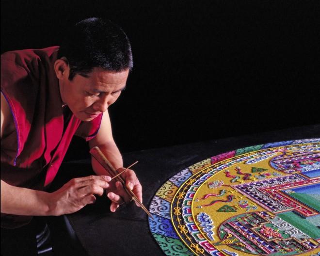mandala sand art design by monks