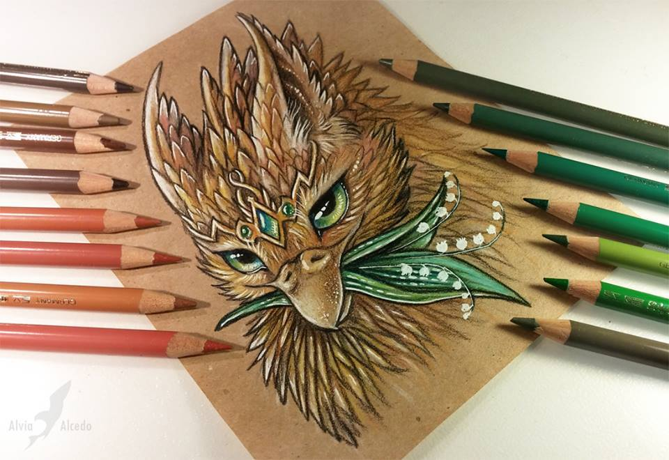 owl color pencil drawing by alvia alcedo