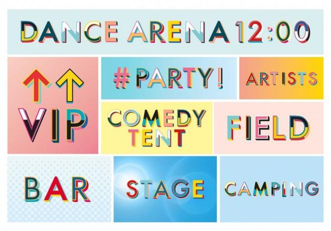 v festival typography design by paula benson