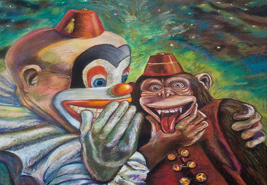 clowns street painting by peck archambault