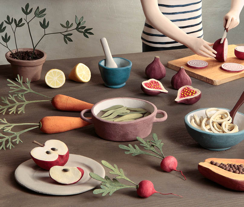 cooking realistic clay sculptures