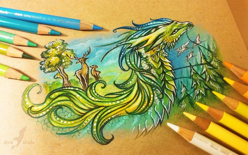 dragon color pencil drawing