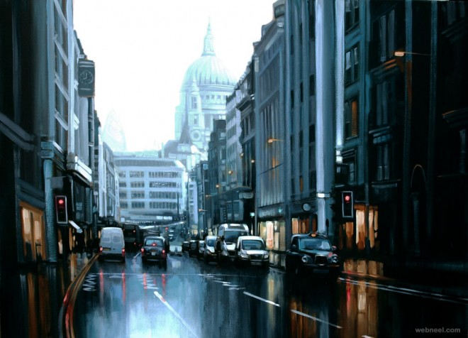 cityscapes painting by ben jeffery