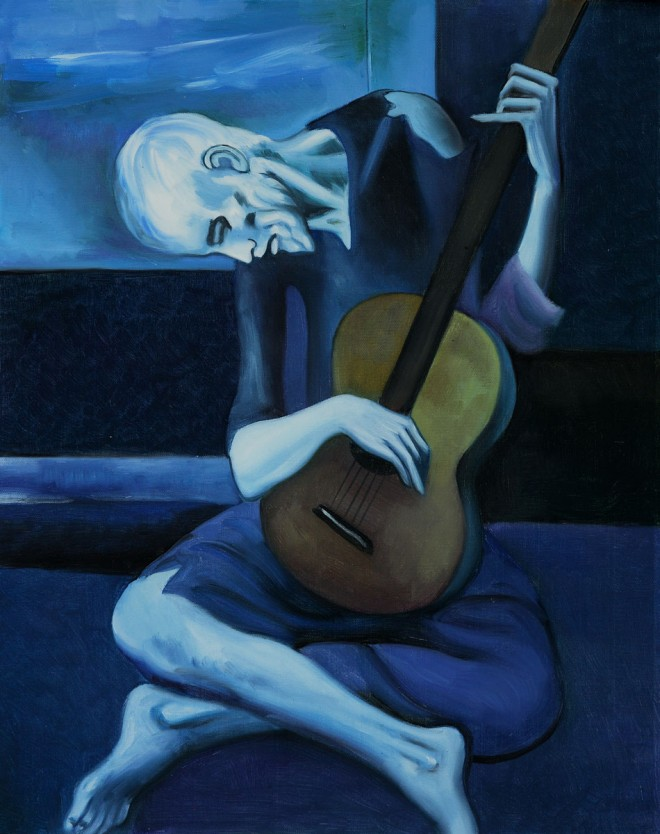 the old guitarist painting by pablo picasso
