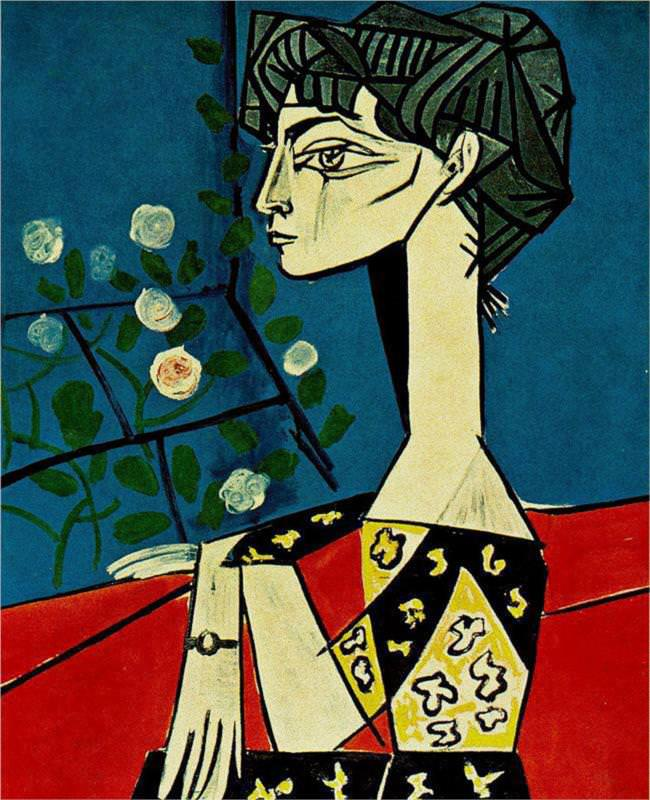 jacqueline with flowers painting by pablo picasso