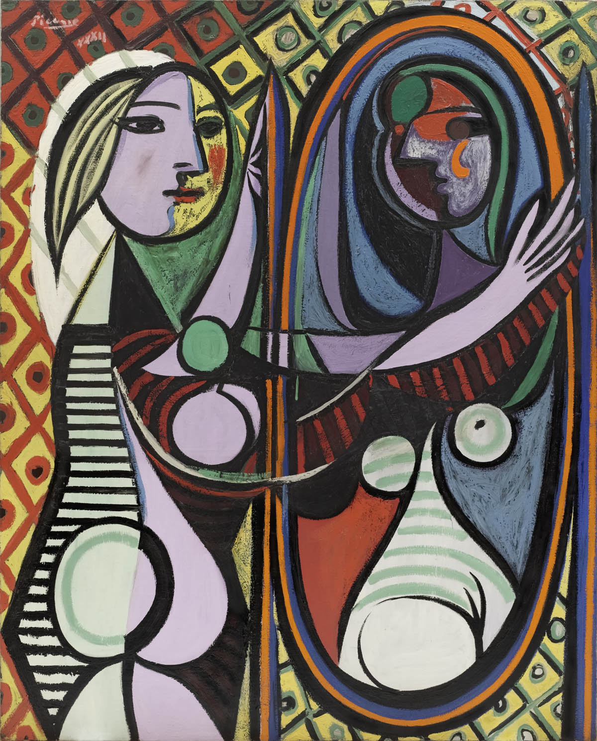 girl before mirror painting by pablo picasso