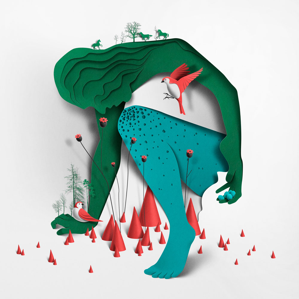 paper art sculpture myth by eiko ojala
