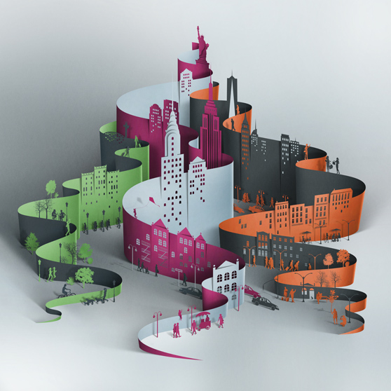 paper art sculpture city by eiko ojala