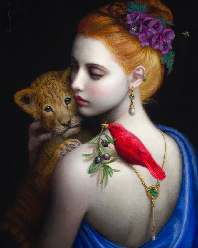 surreal art painting pets by chie yoshii