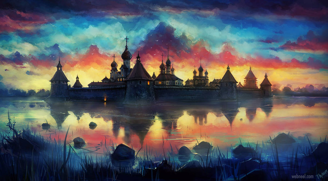 2d concept artwork russian monastery