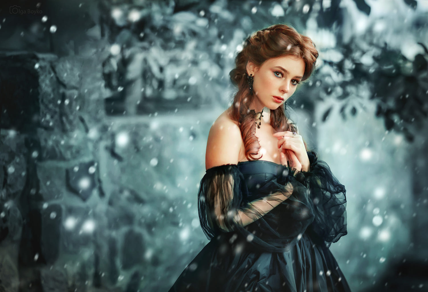 portrait photography snowy queen by olga boyko