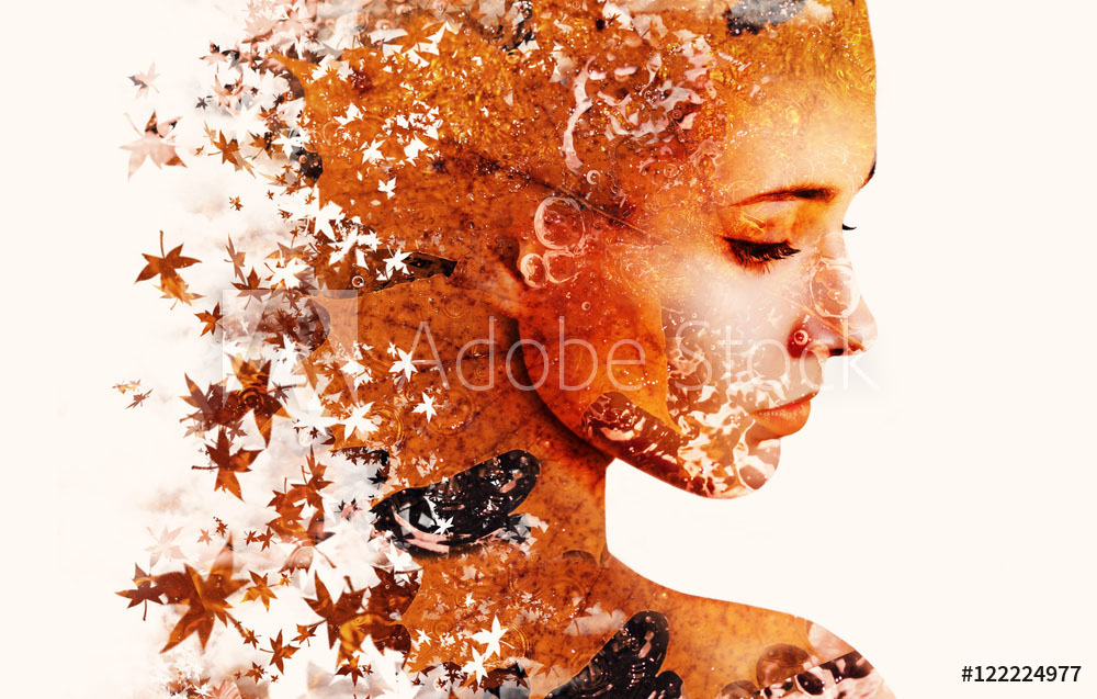 double exposure photography leaves