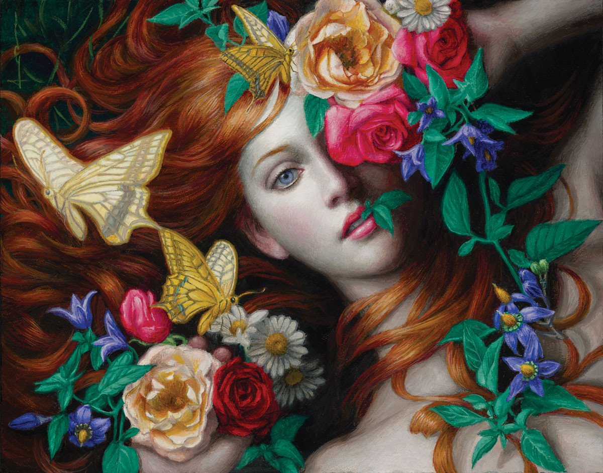 surreal art painting flowers by chie yoshii