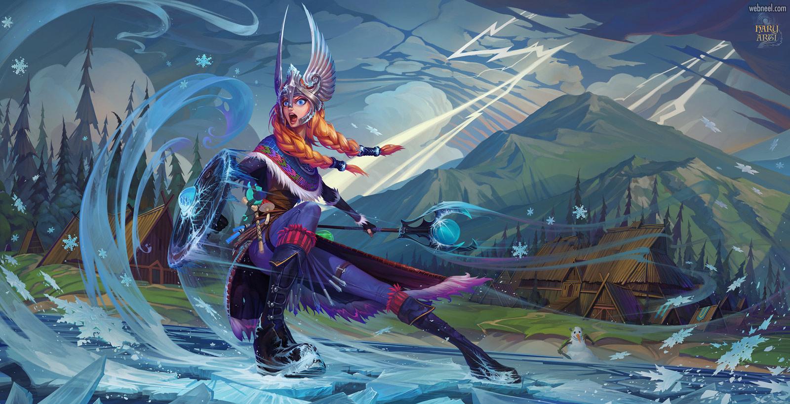 2d concept artwork warrior by igor artyomenko