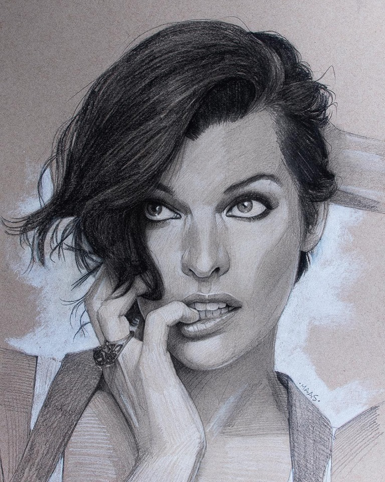 graphite drawing sketches millajovovich by justin maas