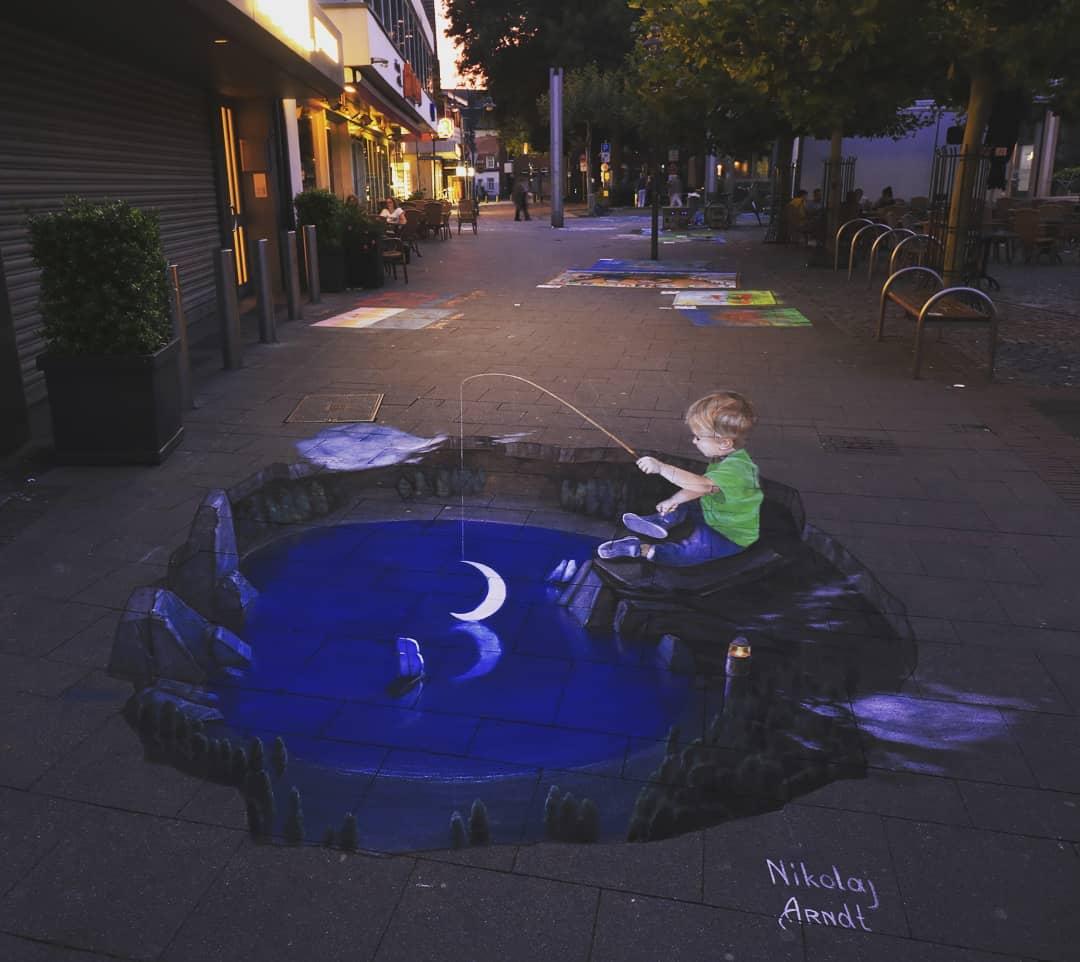 3d street art fishing