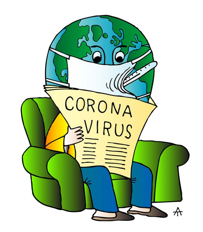 drawing illustration corona virus humorous sketch